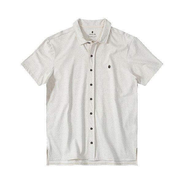 Camisa de manga curta masculina em malha linho - Bege