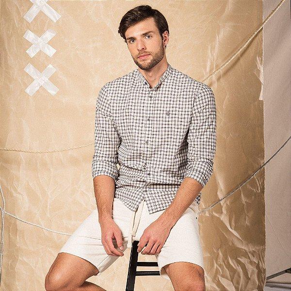 Camisa xadrez masculina manga longa e gola diferenciada - Bege