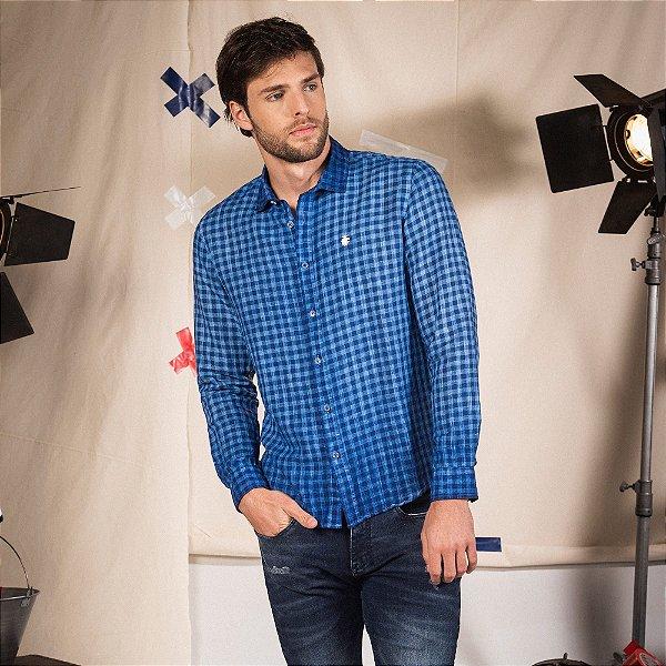 Camisa xadrez masculina manga longa confeccionada flamê com efeito spray  - Azul