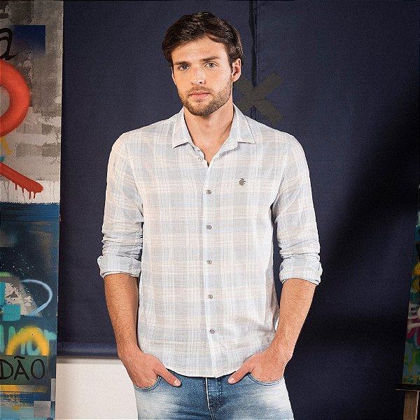 Camisa xadrez masculina manga longa confeccionada em tecido leve - Azul