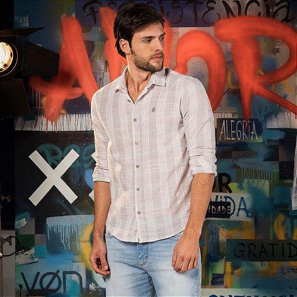 Camisa xadrez masculina manga longa confeccionada em tecido leve - Rosa