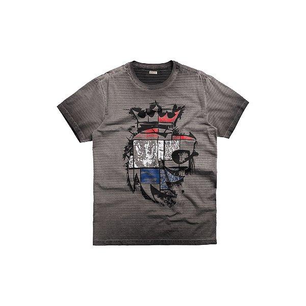 Camiseta dupla face estampa Leão Von der Volke Bandeira da Holanda - Preto