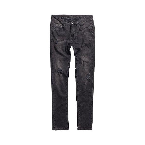 Calça Jeans Preta Desbotada Masculina Zwart - Dark Denim