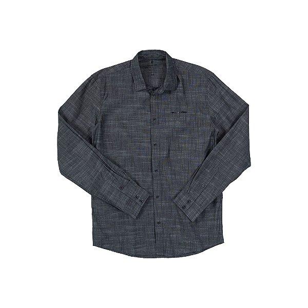 Camisa Masculina Manga Longa em Tecido Flanelado Velan - Cinza