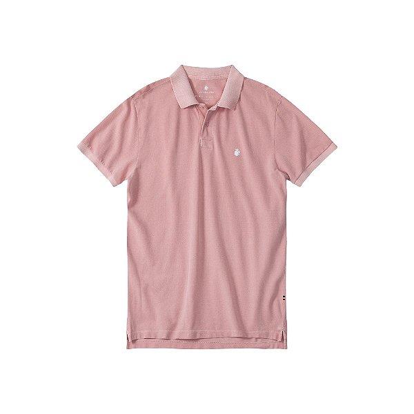 Camisa Polo Masculina Estonada Basis Stone - Rosa