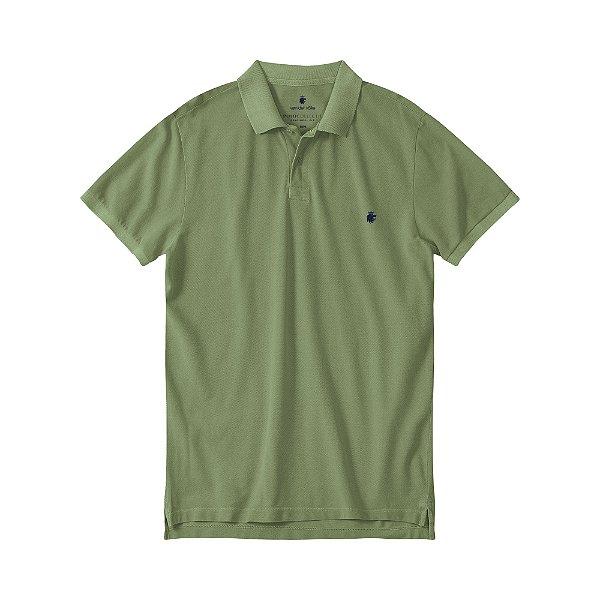 Camisa Polo Masculina Estonada Basis Stone - Verde Militar
