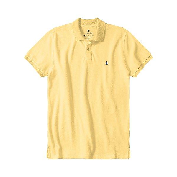 Camisa Polo Masculina Estonada Basis Stone - Amarelo