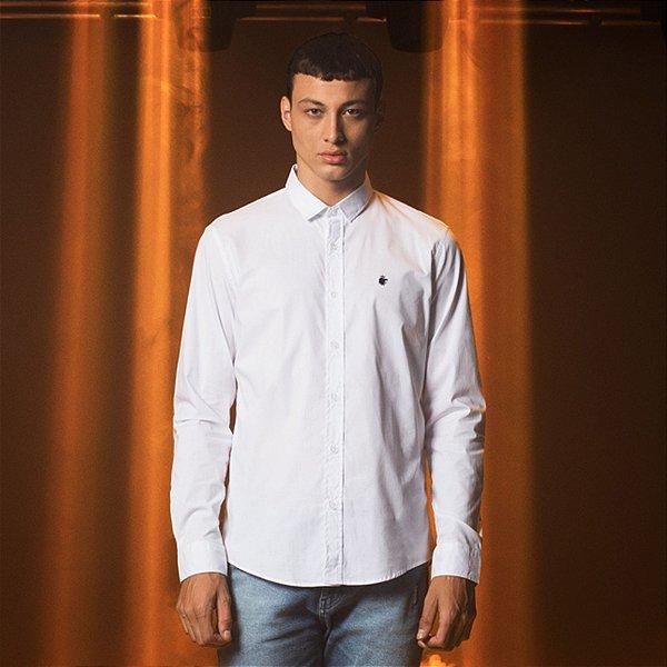 Camisa Masculina Manga Longa Básica com Elastano Basis - Branco