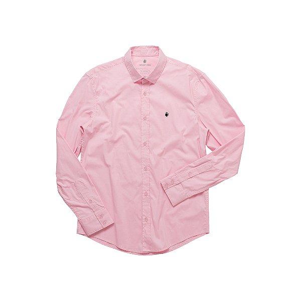 Camisa Masculina Manga Longa em Algodão Basis - Rosa