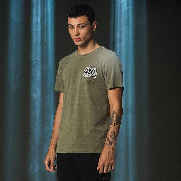 Camiseta Masculina Manga Curta Placa 420 - Verde