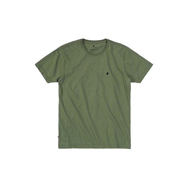 Camiseta básica masculina de gola redonda - Verde Militar