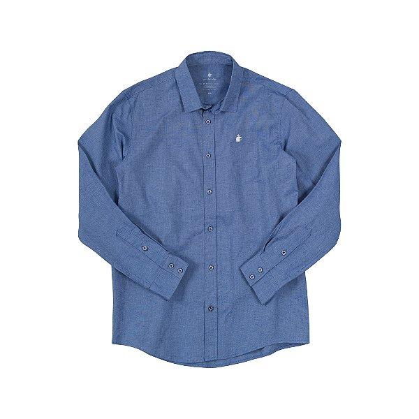 Camisa Masculina Manga Longa em Oxford com Elastano Volke - Azul