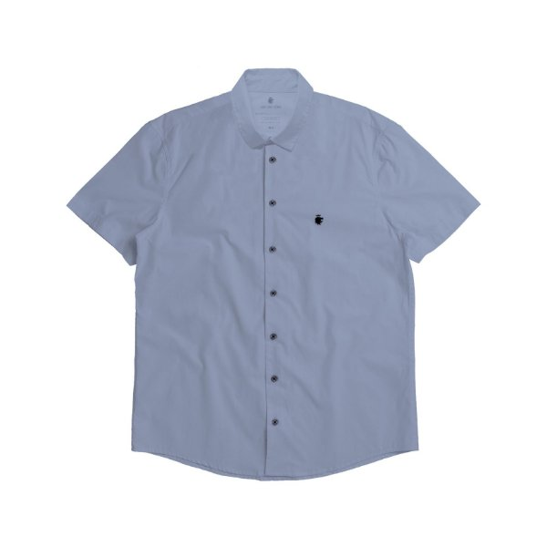 Camisa social manga curta básica masculina de tricoline - Azul