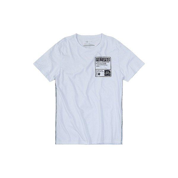 Camiseta de manga curta Masculina Estampa de Placa Fietspad - Branco