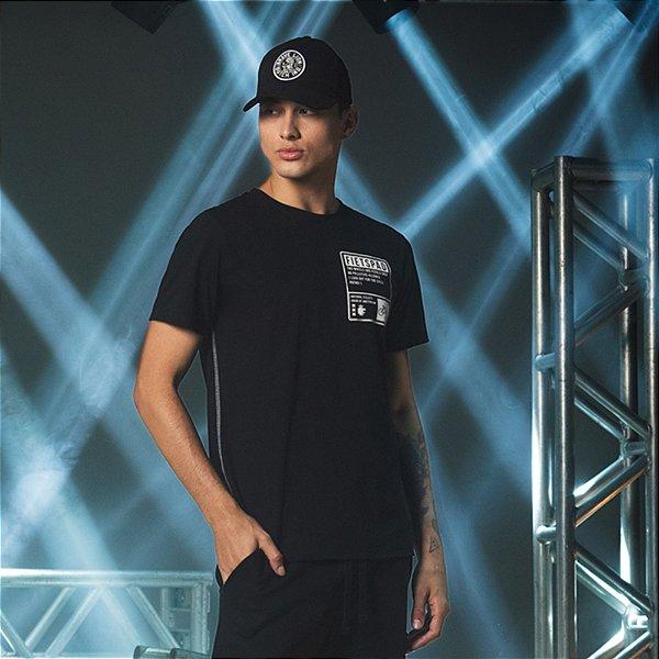 Camiseta de manga curta Masculina Estampa de Placa Fietspad - Preto