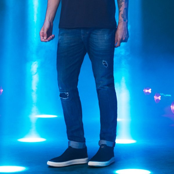 Calça Jeans Escura Destroyed Masculina Troy - Dark Denim