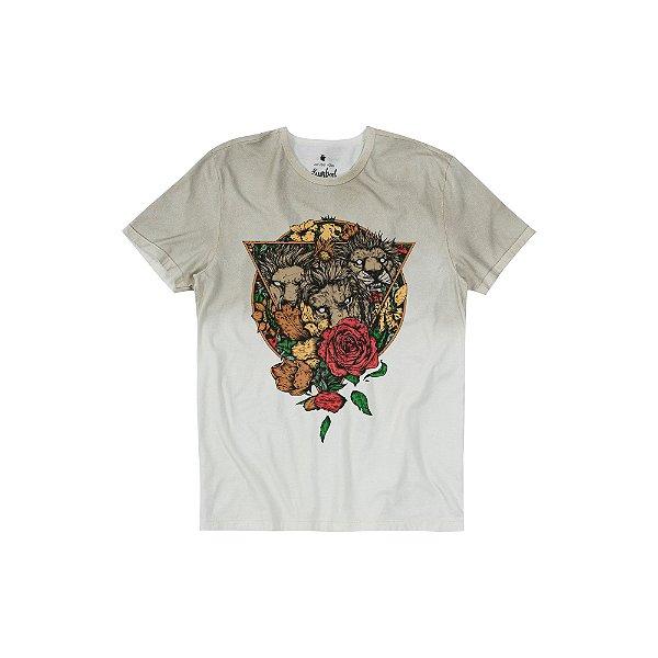 Camiseta Masculina manga curta Estampa 3 Leões - Bege