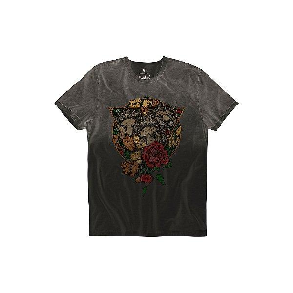 Camiseta Masculina manga curta Estampa 3 Leões - Preto