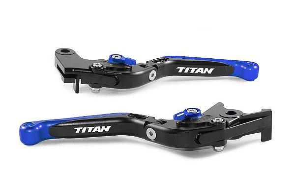 Manete Esportivo Preto Azul Cg Titan 125 150 160 A Laser