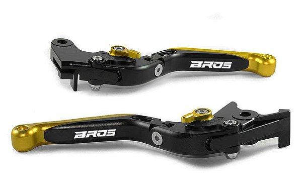 Manete Esportivo Preto Dourado Nxr 125 150 160 Laser Bros