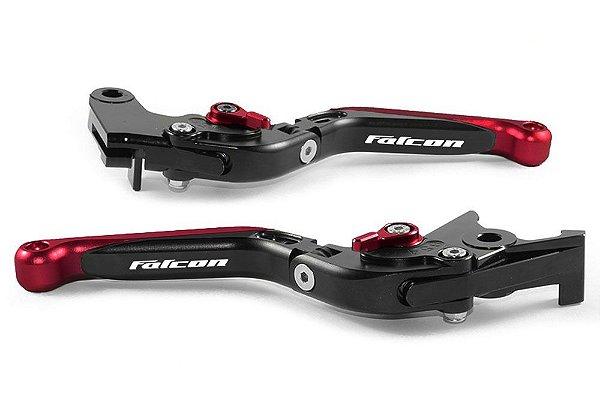 Manete Esportivo Preto Vermelho Honda Nx 400 Laser Falcon