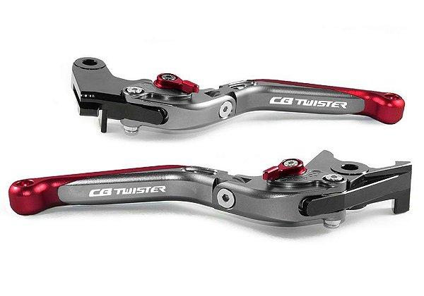 Manete Esportivo Titanium Vermelho Honda Cb 250f A Laser