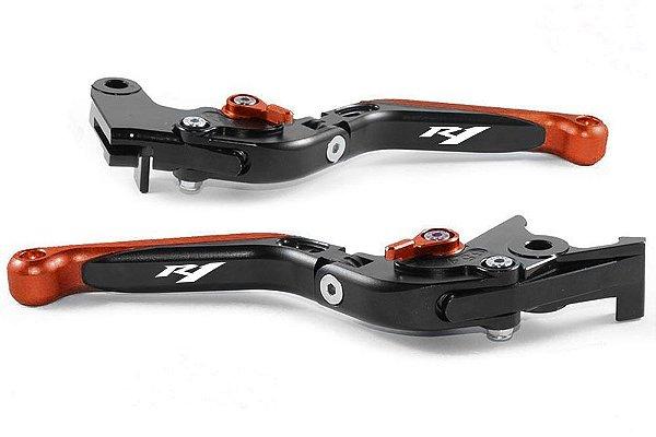 Manete Articulado E Extensível Yzf R1 Gravado A Laser