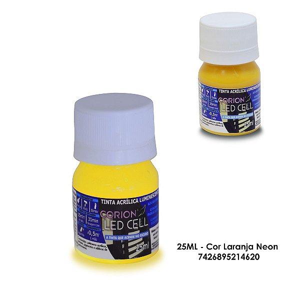 Tinta Glow 25ML - Cor Laranja Neon - Brilha No Escuro Sem Luz Negra