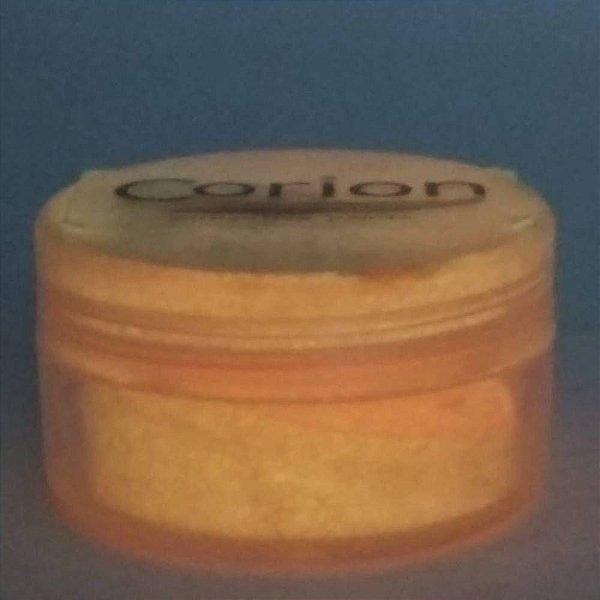 Pó Glow Corion 10gr Cor Laranja Neon - Brilha No Escuro Sem Luz Negra. Fotoluminescente