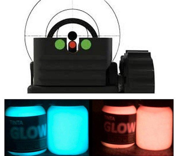 Kit 2 Cores 5ml (c/ Aplicador) Azul Neon + Rosa Neon. Ponto Glow Alça Maça Mira Armas