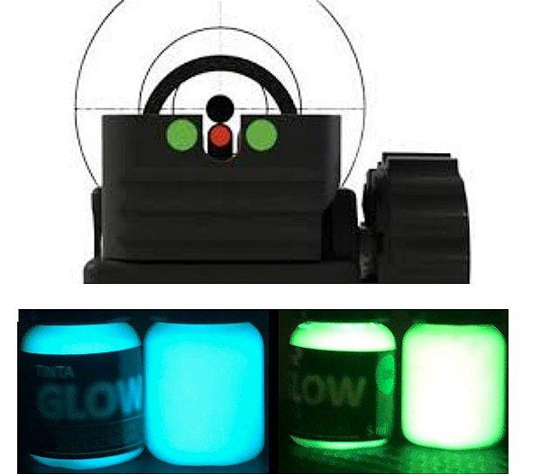 Kit 2 Cores 5ml (c/ Aplicador) Azul Esverdeado (acqua) + Amarelo Esverdeado (original). Ponto Glow Alça Maça Mira Armas