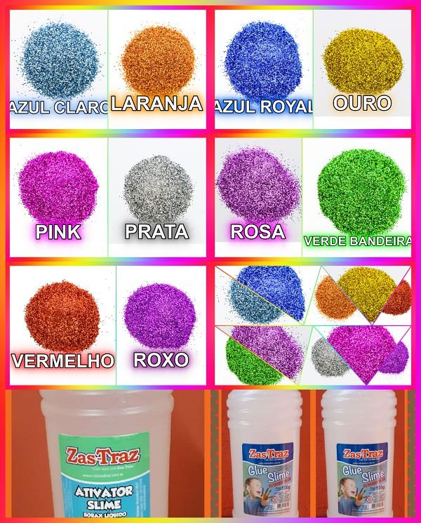 Kit P/ Fazer Slime Clear Com 10 x Glitter - Completo * PROMOCAO * Parcela