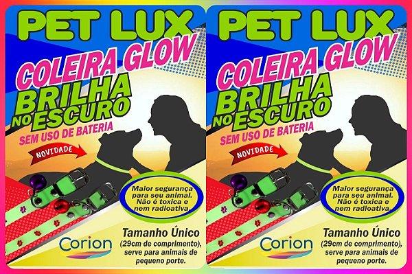 KIT 2 x Coleiras Corion Pet Glow p/ Cachorro Gato Brilha No Escuro Sem Bateria. + Segurança. Glow in the Dark