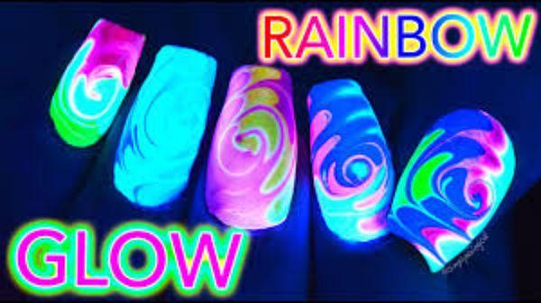 Kit 5 Gel UV Corion Glow 7ml p/ Unha: 3 x gel Colorido Brilha no Escuro sem luz Negra + 1 x pote gel base + 1 x pote gel Acabamento