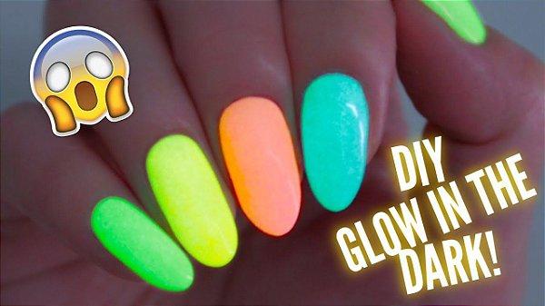 Kit Gel UV Unha Corion Glow Fosforescente: 1 Gel Colorido + Gel Base + Gel Top Coat. Brilha Sem Luz Negra