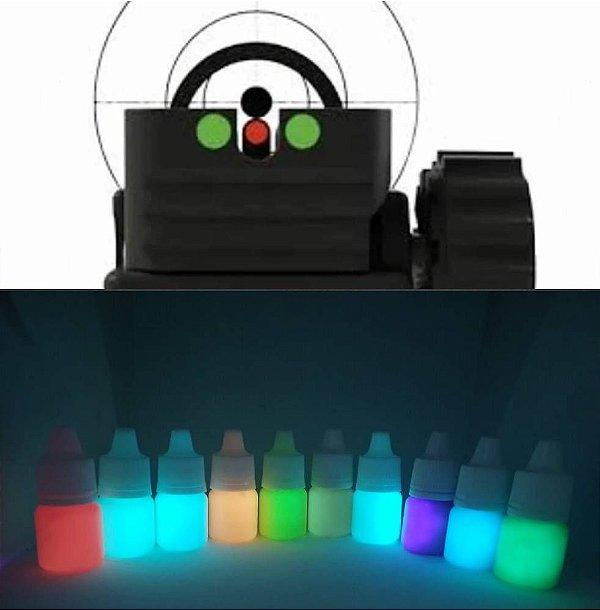 Kit 2 Cores + Primer + Verniz. Tinta Glow Corion 5ml Cores a Escolher. Com Bico Aplicador para Alça e Maça de Mira - Tinta Glow Fosforescente UV