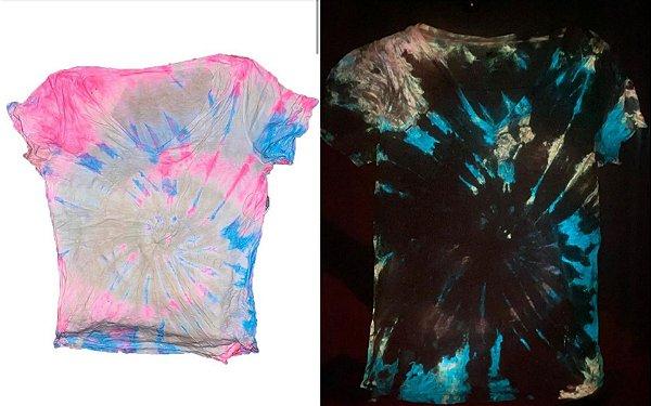 Kit 2 Potes Tinta Glow Corion para fazer Camiseta Tie Dye que Brilha no Escuro sem Luz
