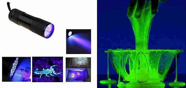 Faz Slime feito com Corion Brilhar!! Lanterna Corion UV 9 Leds Ultra Violeta UV 9 Leds, em Aluminio Preto.