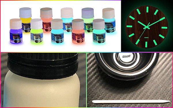 Kit 2 x 25ml Tinta Corion Glow Pre Mixed Luminosa Lumix para pintura de ponteiro de quadrante de relogio para brilhar no escuro.