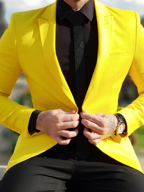 BLAZER SLIM FIT COLOR AMARELO
