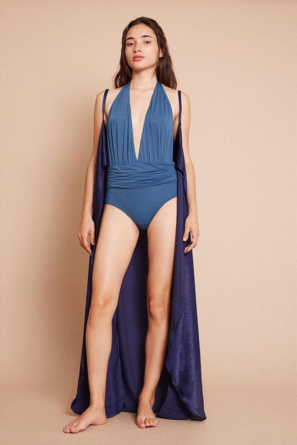 Vestido Quimono Azul Marinho