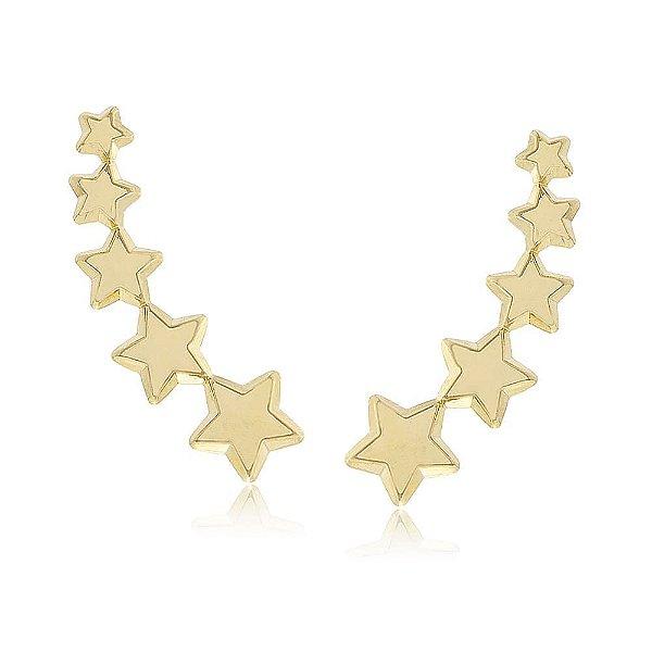 Brinco Ear Cuff Estrelas Folheado a Ouro