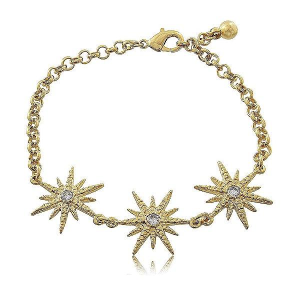 Pulseira Estrelas Cravejadas Folheada a Ouro
