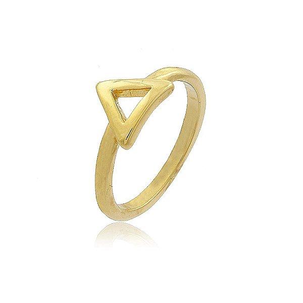 Anel Falange Triângulo Vazado Folheado a Ouro