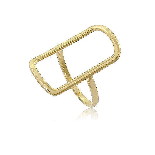Anel Retangular Vazado Folheado a Ouro