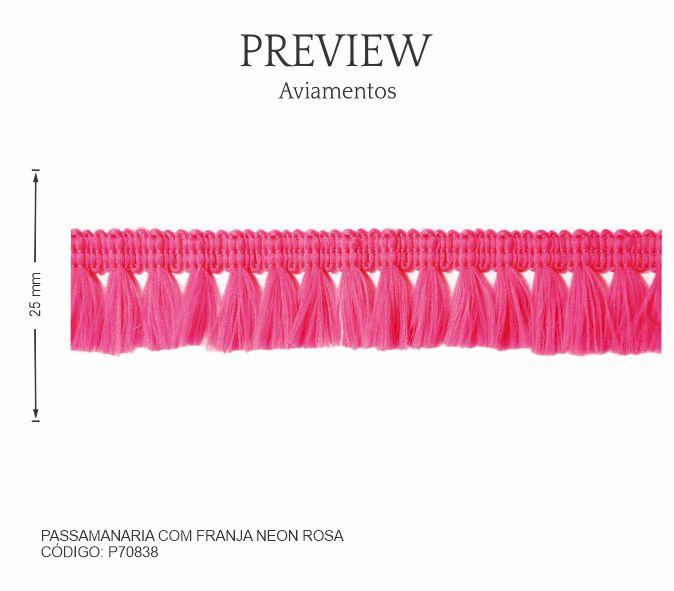 Passamanaria C/ Franja Neon Rosa P70838 PCT C/ 10.00m Larg. Aprox.: 25 mm Composição: 100% Poliéster
