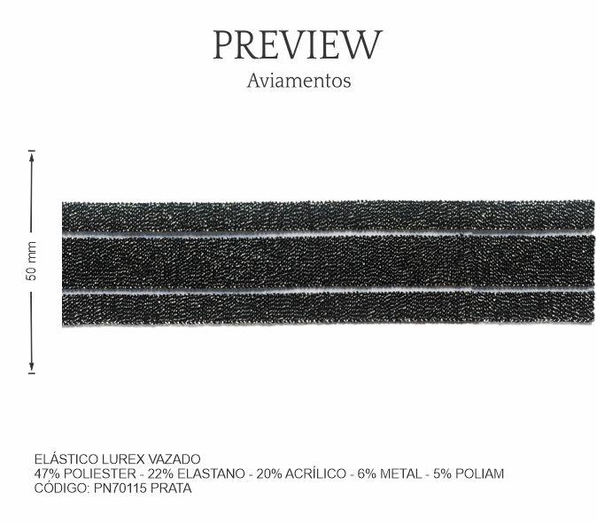 Elástico Lurex Vazado Pn70115 Prata PCT C/ 10.00m Larg. Aprox.: 50 mm Composição: 47% Poliéster - 22% Elastano - 20%                        Acrílico - 6% Metal - 5% Poliam