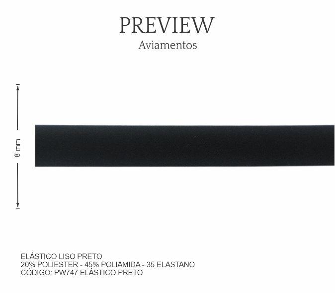 Elástico Liso Preto PW747 PCT C/ 10.00m Larg. Aprox.: 8 mm Composição: 20% Poliéster - 45% Poliamida - 35% Elastano