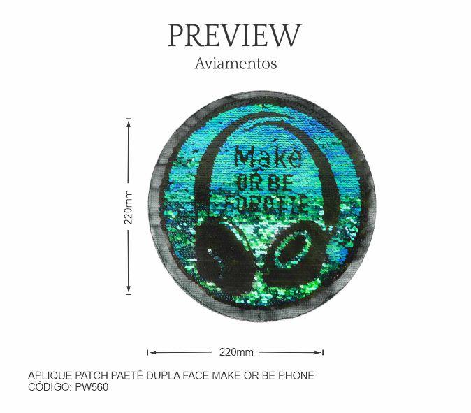 Aplique Patch Termocolante Paetê dupla Maker or Be Phone PW560 PCT C/ 5 Unidades  Larg. Aprox.: 220mm x 220mm Composição: Paetê