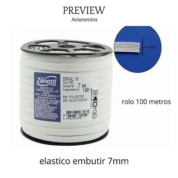 Elastico largura 7mm cor branco  rolo com 100 metros